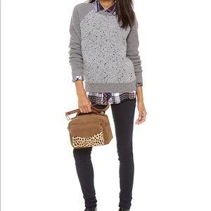 Madewell Boucle Panel Sweater Italian Grey